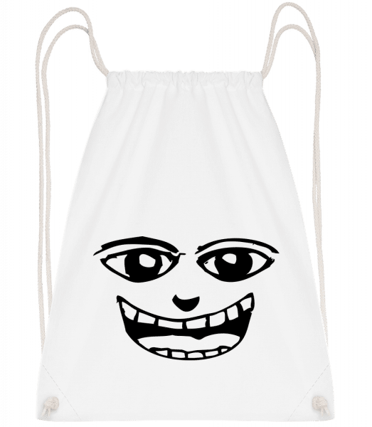 Funny Face Symbol Black - Drawstring Backpack - White - Vorn
