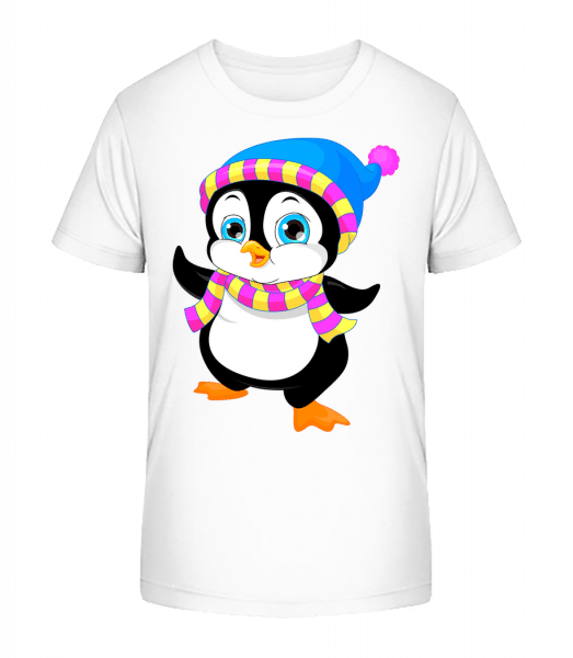 Penguin With Scarf - Kid's Premium Bio T-Shirt - White - Vorn