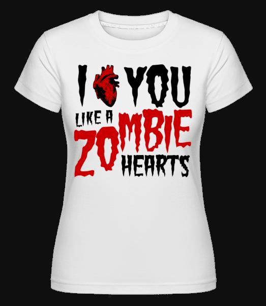 I Like You Like A Zombie Hearts -  Shirtinator Women's T-Shirt - White - Vorn