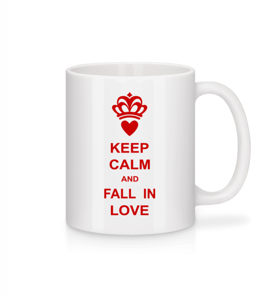 Keep Calm And Fall In Love - Mug - White - Vorn