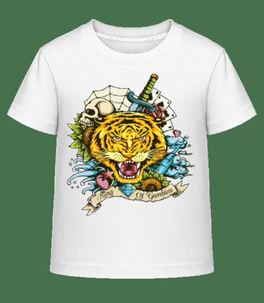 Tiger Tattoo Flash - Kid's Shirtinator T-Shirt - White - Vorn