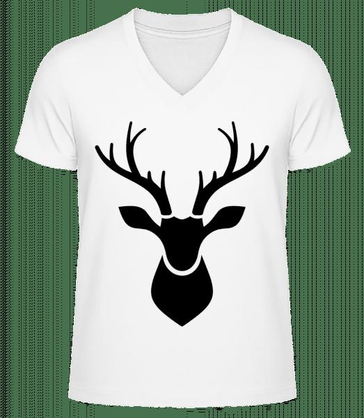 Deer Shadow - Men's V-Neck Organic T-Shirt - White - Front