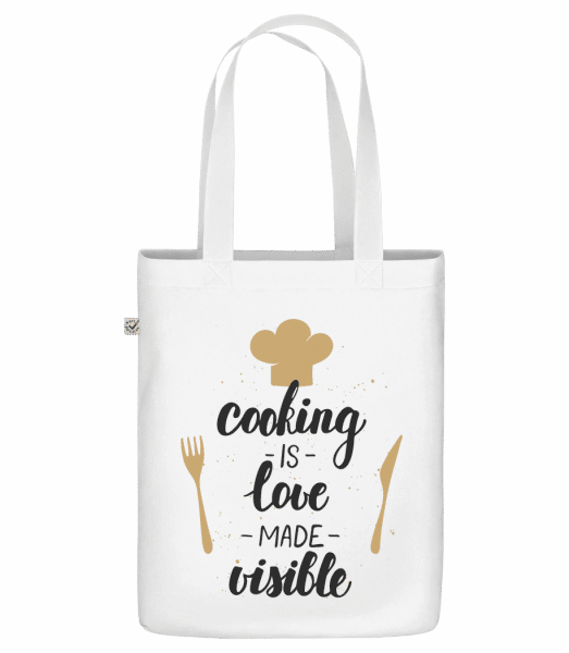 Cooking Is Love Made Visible - Sac en toile bio Earth Positive - Blanc - Vorn