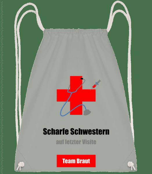 Scharfe Schwestern  Team Braut - Turnbeutel - Anthrazit - Vorn