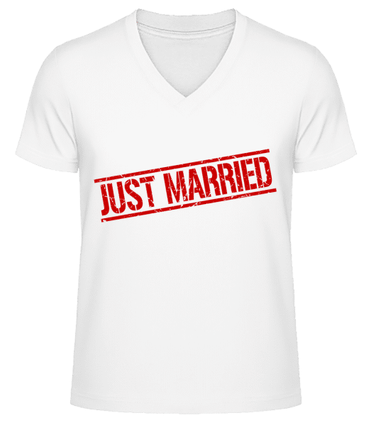 Just Married - Men's V-Neck Organic T-Shirt - White - Vorn