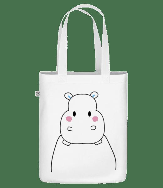 "Cute Hippopotamus - Organic ""Earth Positive"" tote bag - White - Vorn"