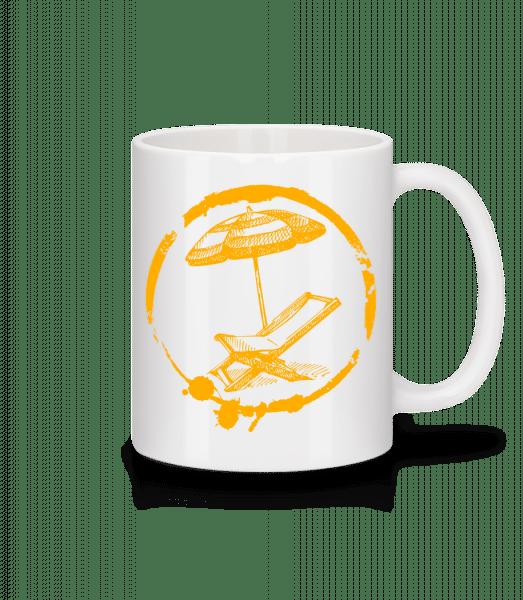 Dovolenka pri mori - Keramický hrnček - Biela - Predné