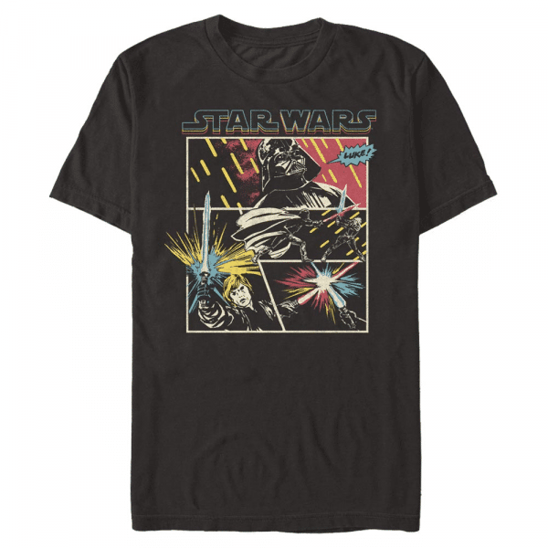 Comic Fight Darth Vadar and Han Solo - Star Wars a New Hope - Men's T-Shirt - Black - Front
