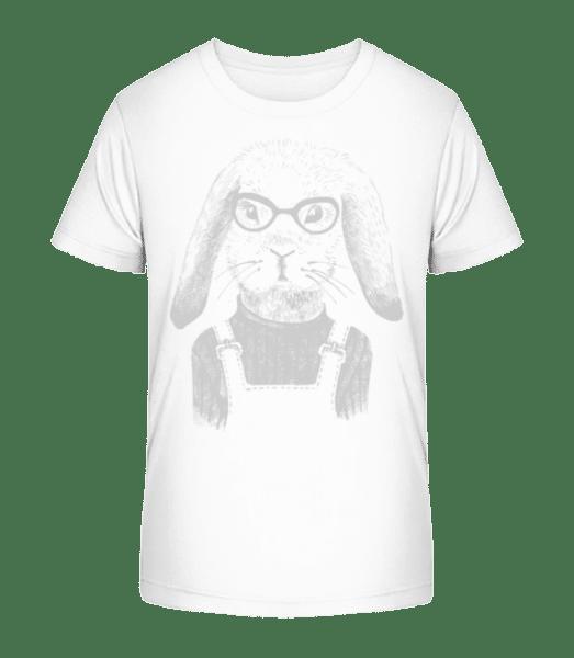 Hipster Rabbit - Kid's Premium Bio T-Shirt - White - Vorn
