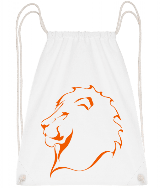 Lion - Drawstring Backpack - White - Vorn