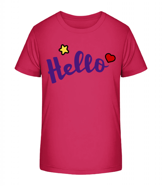 Hello Sign Purple - Kid's Premium Bio T-Shirt - Magenta - Front