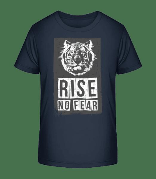 Rise No Fear Tiger - Kid's Premium Bio T-Shirt - Navy - Front