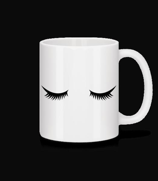 Cils - Mug en céramique blanc - Blanc - Devant