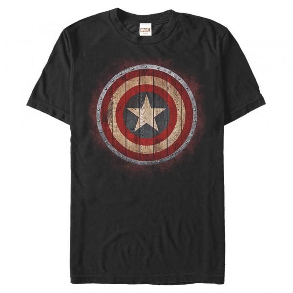 Wooden Shield Captain America - Marvel Avengers - Men's T-Shirt - Black - Front