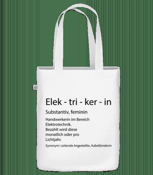 Elektrikerin Quatsch Duden - Bio Tasche - Weiß - Vorn