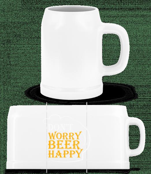 Beer Happy - Bierkrug - Weiß - Vorn