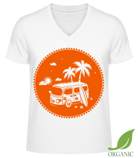 "Holiday Icon Orange - ""James"" Organic V-Neck T-Shirt - White - Vorn"