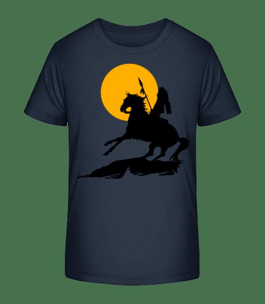 Knight Silhouette Sunset - Kid's Premium Bio T-Shirt - Navy - Vorn
