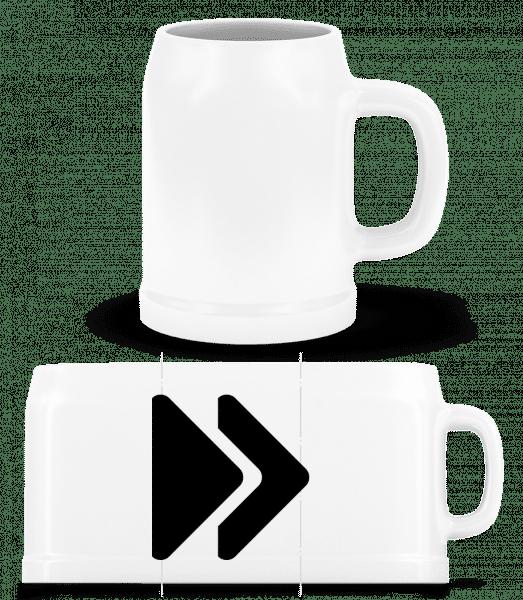 Vorspulen Symbol - Bierkrug - Weiß - Vorn