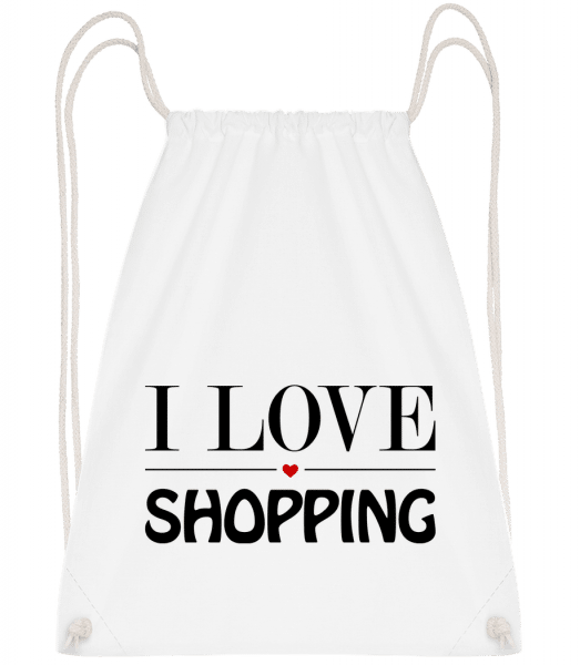I Love Shopping - Drawstring Backpack - White - Vorn