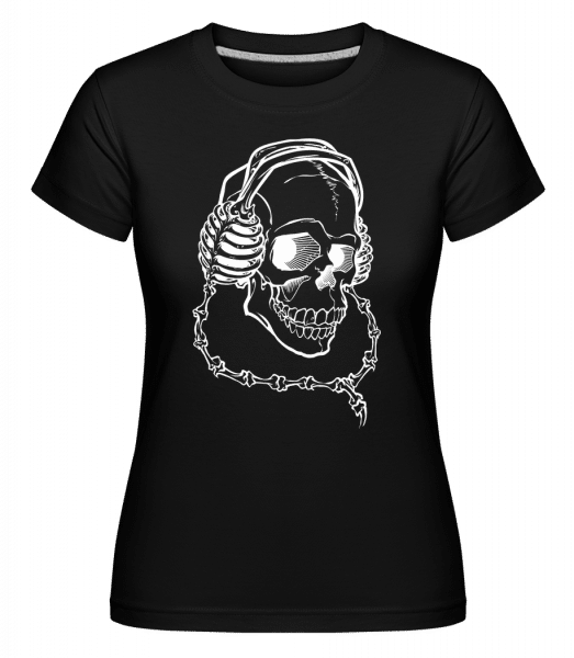 Skull With Headphones -  Shirtinator Women's T-Shirt - Black - Vorn