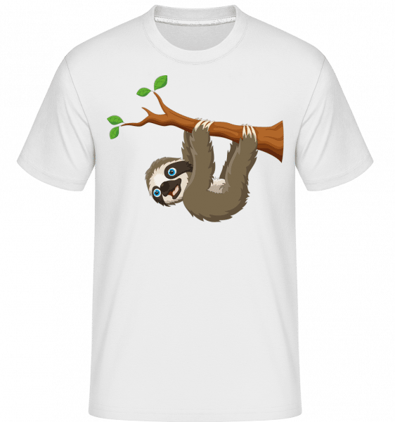 Cute Sloth Hanging On A Branch -  Shirtinator Men's T-Shirt - White - Vorn