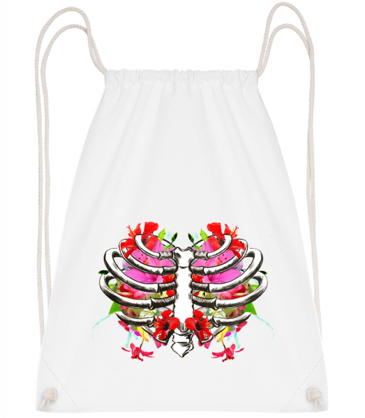 Flowers Lung - Drawstring Backpack - White - Vorn