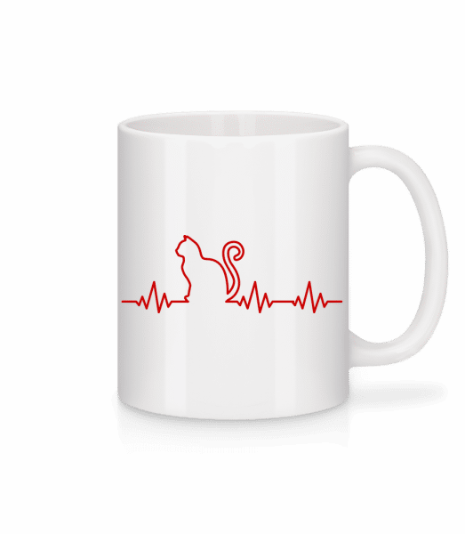 Heartbeat Cat - Mug - White - Vorn