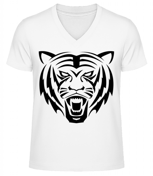 Tiger Head - Men's V-Neck Organic T-Shirt - White - Front