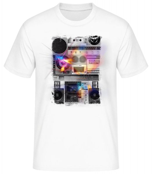 Ghetto Blaster - Basic T-Shirt - White - Vorn