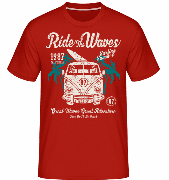 Ride The Waves -  Shirtinator Men's T-Shirt - Red - Front