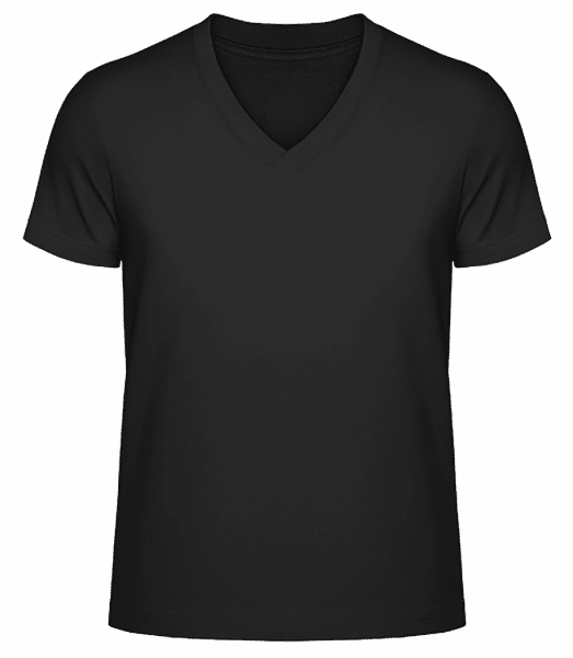 Men's V-Neck Organic T-Shirt - Black - Front
