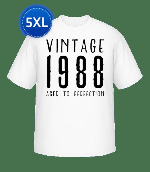 Vintage 1988 Aged To Perfection - Männer Basic T-Shirt Große Größen - Weiß - Vorn