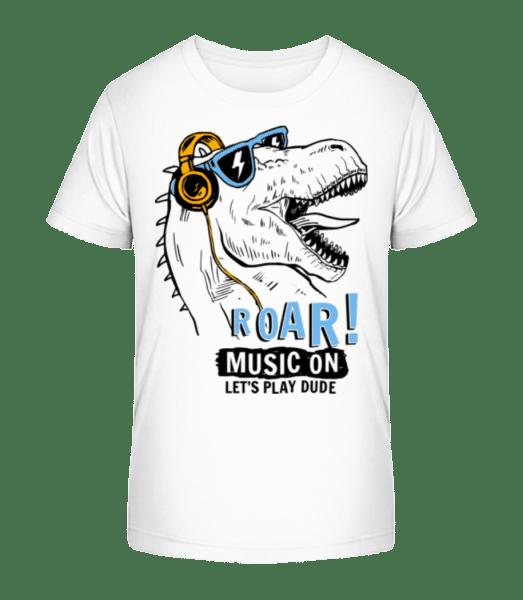 Music On Dino - Kid's Premium Bio T-Shirt - White - Vorn