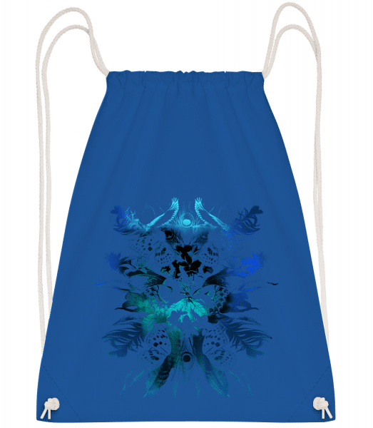 Feathers And Butterflies - Drawstring Backpack - Royal blue - Vorn