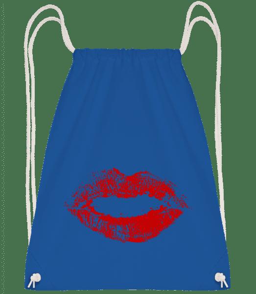 Red Lips - Drawstring Backpack - Royal blue - Vorn