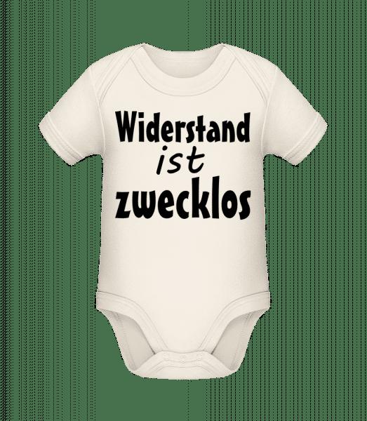 Widerstand Ist Zwecklos - Baby Bio Strampler - Creme - Vorn