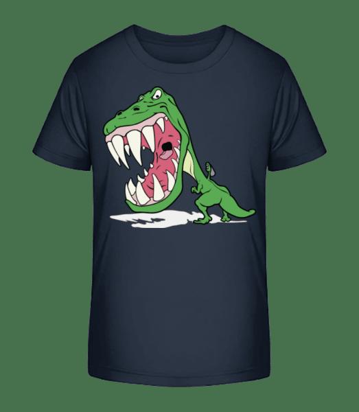 Dinosaur Kids Green - Detské Premium Bio tričko - Namornícka modrá - Predné