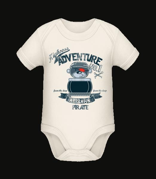 Pirate Teddy Adventure - Baby Bio Strampler - Creme - Vorn