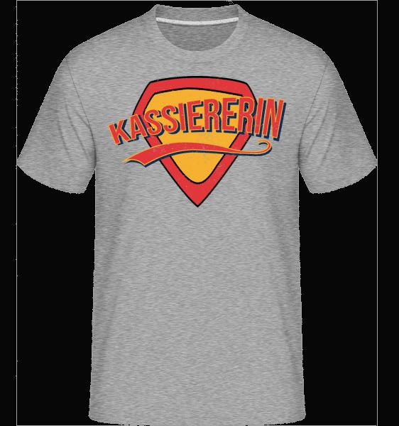 Superheldin Kassiererin - Shirtinator Männer T-Shirt - Grau meliert - Vorn