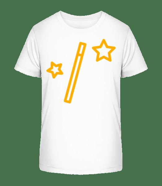 Magic Wand And Stars - Kid's Premium Bio T-Shirt - White - Vorn