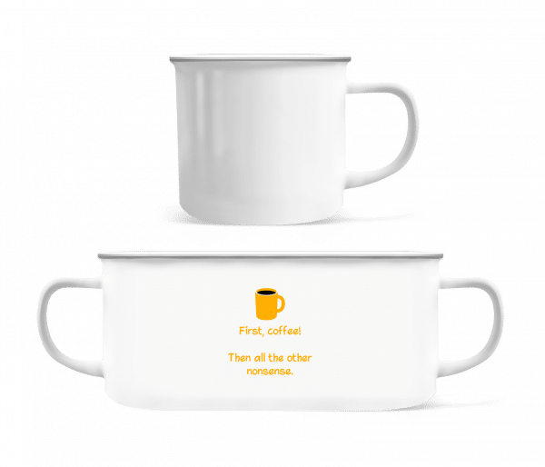 First, Coffee! - Enamel-cup - White - Vorn