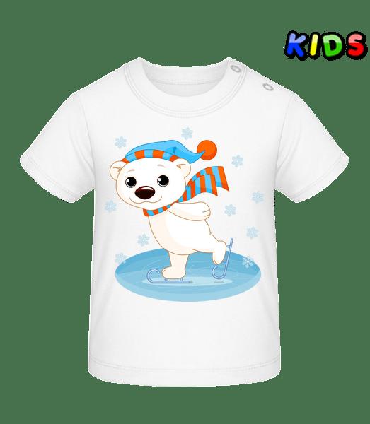 Medvěd na ledě - Tričko pro miminka - Bílá - Napřed