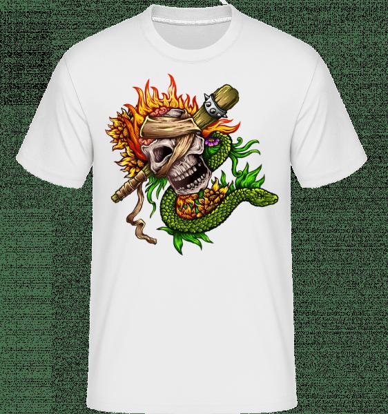 Fire Skull -  Shirtinator tričko pre pánov - Biela - Predné