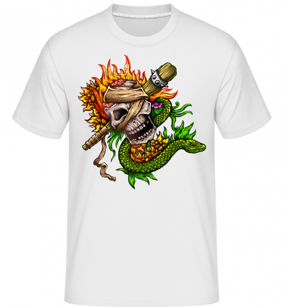 Fire Skull -  T-Shirt Shirtinator homme - Blanc - Vorn