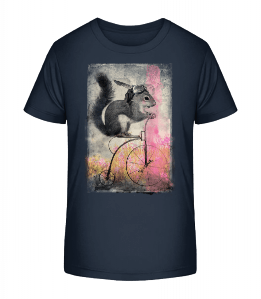 Squirrel Bike - Kid's Premium Bio T-Shirt - Navy - Front