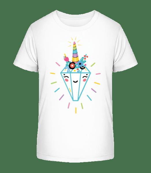 Fröhlicher Diamant - Kinder Premium Bio T-Shirt - Weiß - Vorn