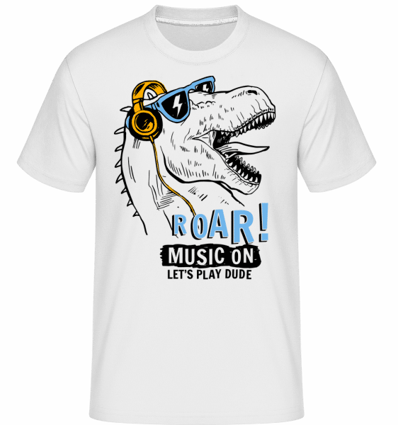 Music On Dino -  Shirtinator tričko pro pány - Bílá - Napřed