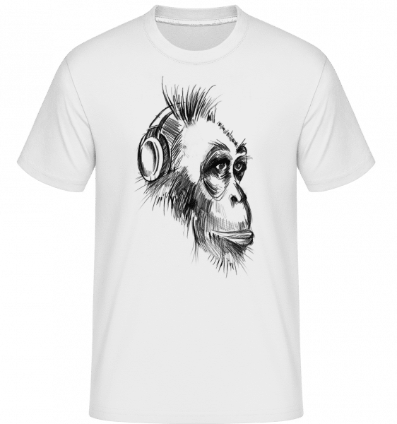 Monkey With Headphones -  Shirtinator Men's T-Shirt - White - Vorn