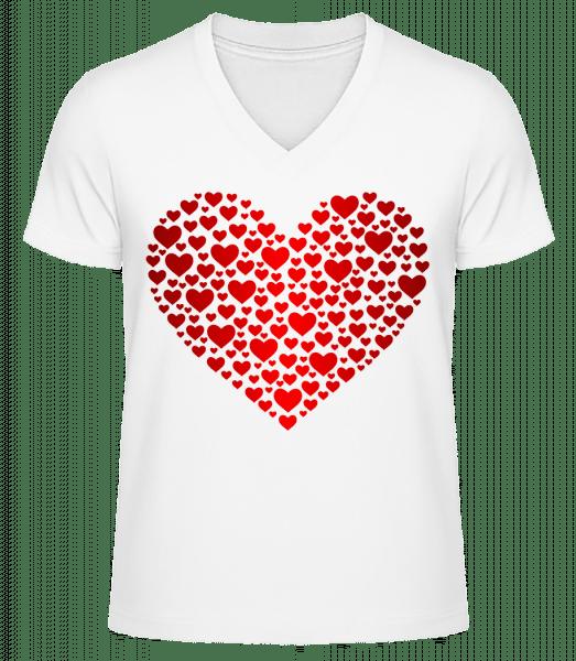 Hearts - Men's V-Neck Organic T-Shirt - White - Vorn